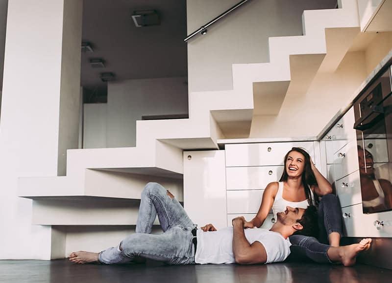 Couple sat on heated floor