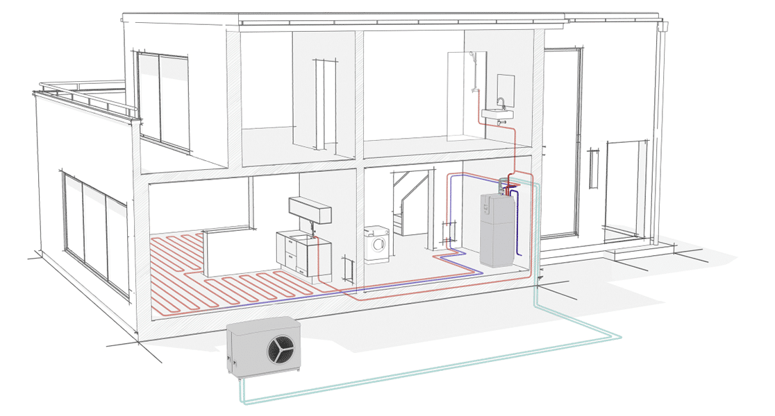 Air Source Heat Pump Illustration